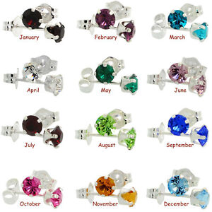 Sterling Silver Swarovski Crystal Birthstone Stud Earrings $6 ea Windsor Region Ontario image 1