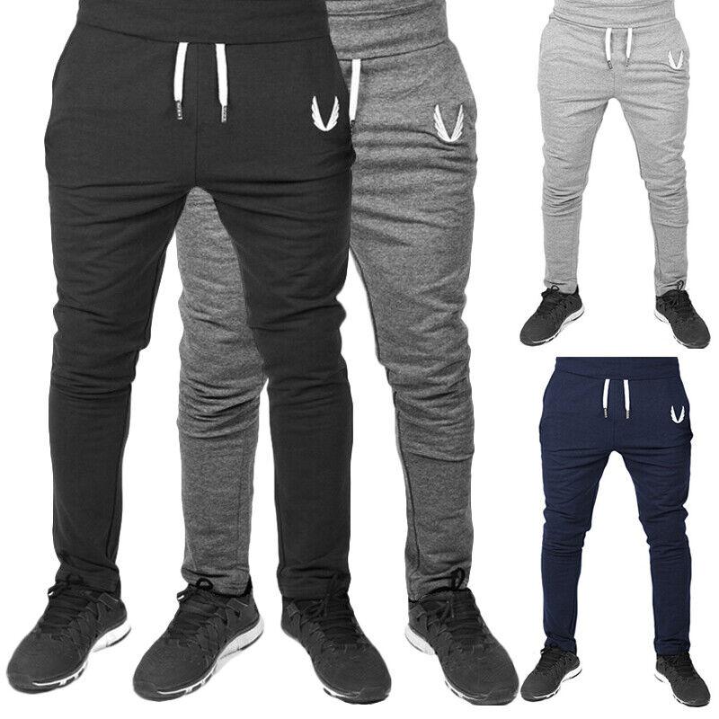 Mens Slim Fit Track Pants Gym Sports Skinny Jogging Joggers Sweat Pants Trousers