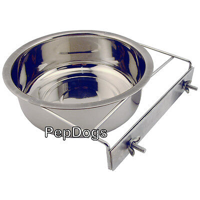 STAINLESS STEEL Cage Coop Cup Bolt Clamp Holder Dog Puppy Crate Hanger Bowl