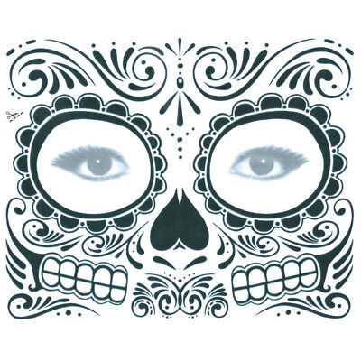Halloween Day of the Dead Face Stickers Makeup Mask Waterproof Make Up Tattoo  - Day Of The Dead Face Makeup
