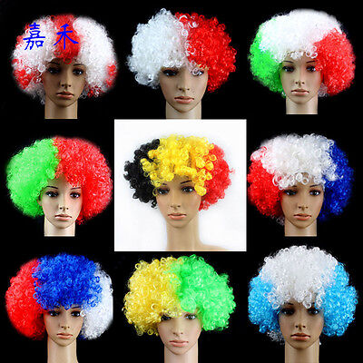 Party Disco Rainbow Afro Clown Hair Football Fan Adult Child Costume Wig (Kids Clown Wigs)