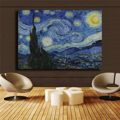 "Vincent Willem van Gogh  ""The Starry Night"" HD print on canvas huge wall picture"
