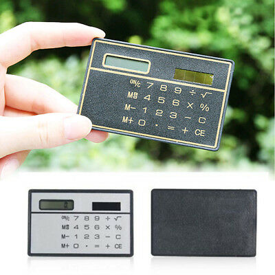 8 Digits Ultra Thin Mini Slim Credit Card Solar Power Pocket Calculator Random