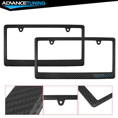 Front & Rear 2PC Set Carbon Fiber CF Look License Plate Frames Caps Tag Cover