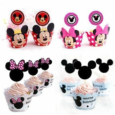 Minnie Mouse Cupcake Wrappers (Minnie Mouse Paper Cupcake Wrappers & Toppers For Kids Birthday Party 24Pcs)