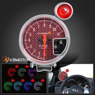 """5"""" 11K RPM 7 Color Tachometer Auto Gauge Meter Silver Carbon Shift Light Tach"""