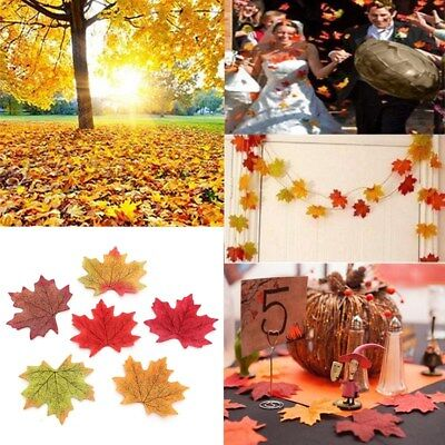 50pcs Fall Silk Leaves Wedding Party Favor Autumn Maple Leaf Decoration 6 Colors - Fall Leaves Decorations
