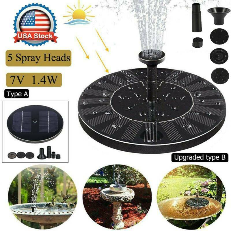 1.4W Solar Powered Floating Pump Water Fountain Birdbath Poo