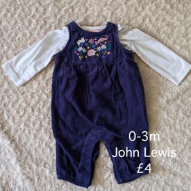 0-3m John Lewis dungarees
