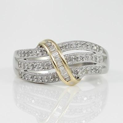 Solid 10K Yellow Gold & 925 Sterling Silver 1/4ct Natural Diamond Ring Size 6.75