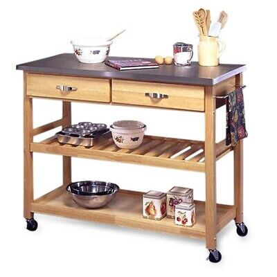 Stainless Steel Top Kitchen Cart Utility Table With Locking Wheel