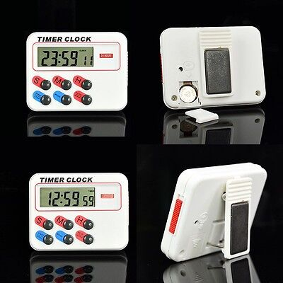 12 Hour Electronic Timer - Portable Digital LCD Kitchen Cooking Electronic Timer Clock 12/24 hours