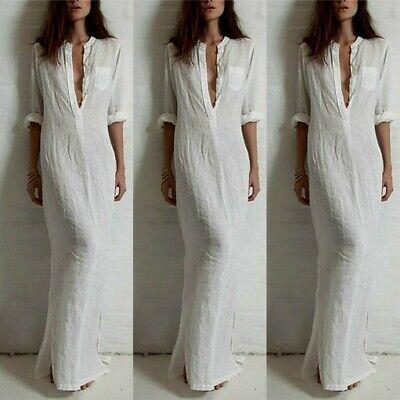 UK STOCK Women Vintage Deep V Neck Long Sleeve Casual Loose Maxi Dress Kaftan