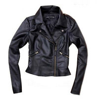 NEW faux leather jacket Black zippered sleeves fit S to M BLACK