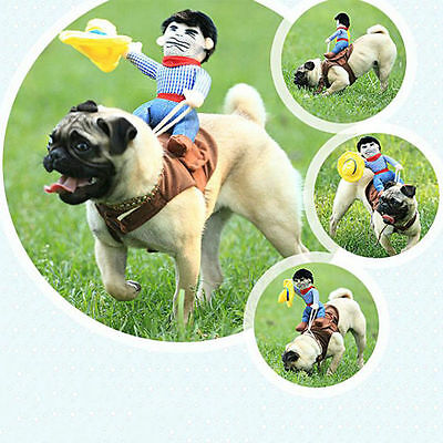 Funny Pet Small Large Dog Halloween Costumes Riding Cowboy Coat Clothes Cosplay - Funny Large Dog Halloween Costumes