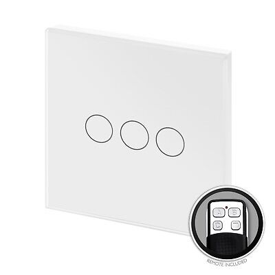 RetroTouch Touch & Remote Light Switch 3 Gang 2 Way White Glass PG 00365
