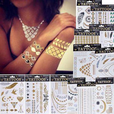 Jewel Tattoos (Metallic Golden Temporary Jewel Tattoos Jewelry Inspired Stickers Flash Art uk)