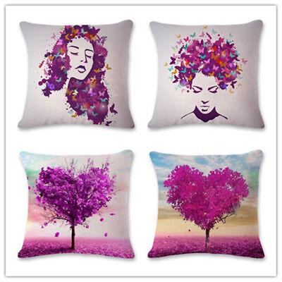 18''Purple Leaves Cotton Linen Pillow Case Sofa Cushion Cover Fashion Home