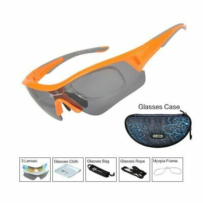 RockBros Polarized Cycling Glasses Sport Sunglasses Myopia Eyewear Frame (Orange Frame Sunglasses)