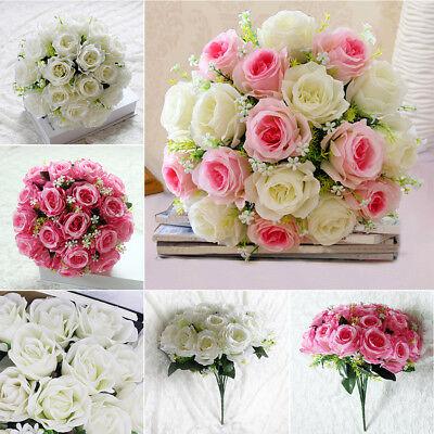 18 Köpfe Künstliche Pfingstrose Rosen Blumenstrauß Seidenblumen Hochzeit Deko (Strauß Seidenblumen)