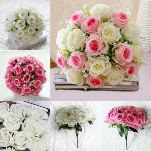 18 Köpfe Künstliche Pfingstrose Rosen Blumenstrauß Seidenblumen Hochzeit Deko R