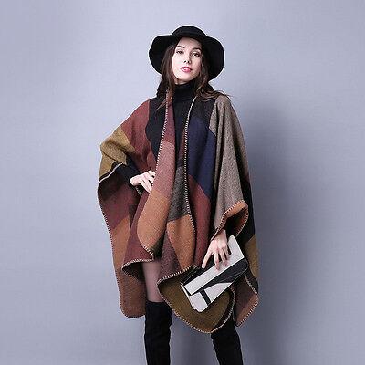 "Women Winter Long Cashmere Scarf Plaid Patchwork Poncho Blanket Shawl 61""*51"""
