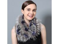 DAYMISFURRY-- Rex Rabbit and Silver Fox Fur Snood Scarf