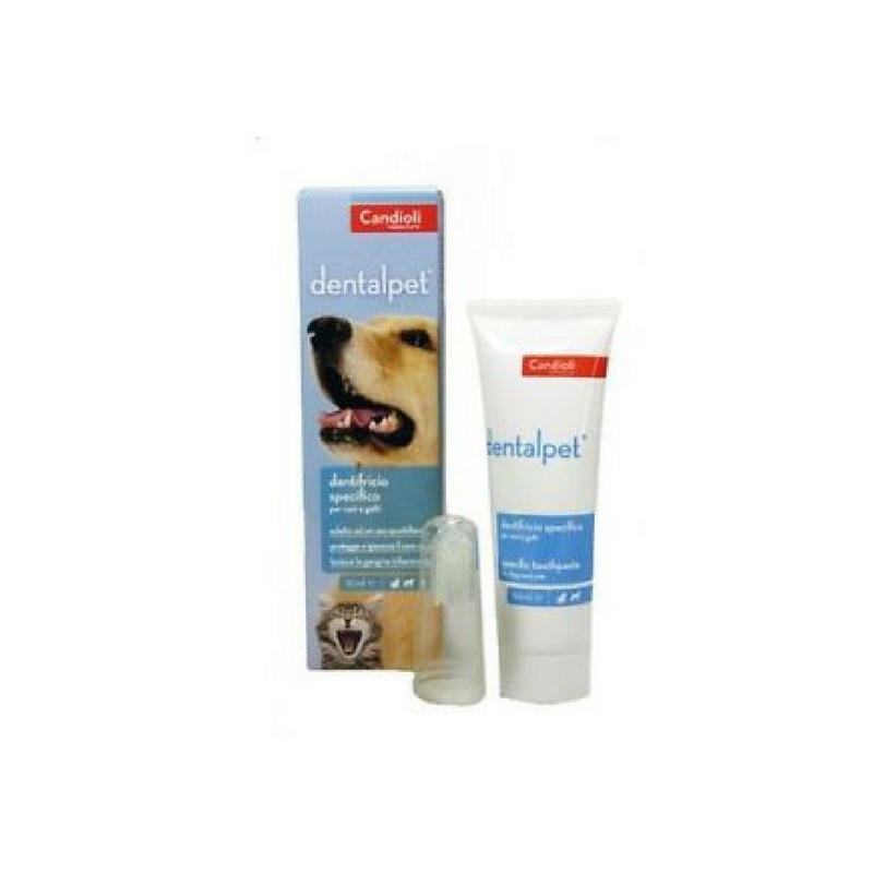 Dentalpet, dentifricio per cani e gatti con apposito puliscidenti, 50ml,Candioli