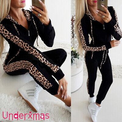 Womens Leopard Print 2PCS Tracksuits Sport Lounge Wear Ladies Tops Pants Suit UK