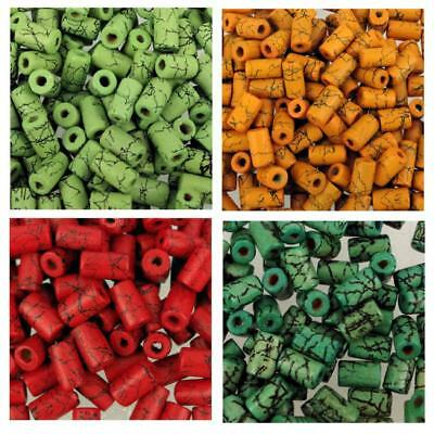 50 x Crackle Tube Wooden Beads Red/Orange/Green/Lime 6x9mm W56