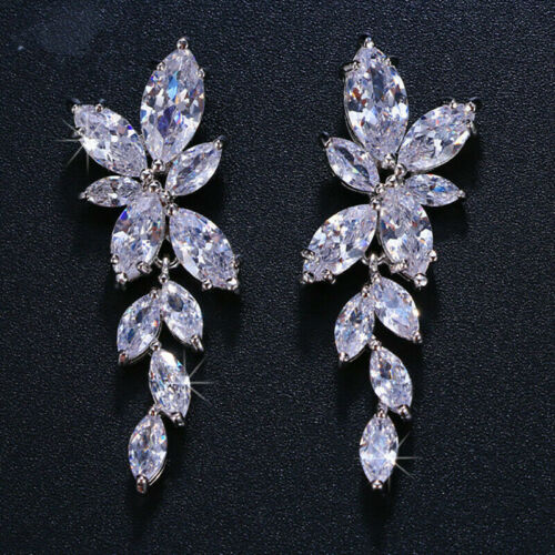 Vintage Iconic Retro Drop Dangle Expensive Earrings 3.6Ct Diamond 14k White Gold