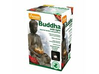 Buddha with Solar Powered Garden Patio Light - New - FREE Local Delivery