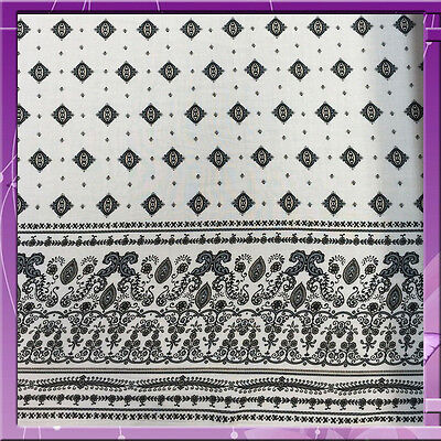 100% RAYON CHALLIS ONE BORDER 54 INCHES WIDE FABRIC GREY / OFF WHITE