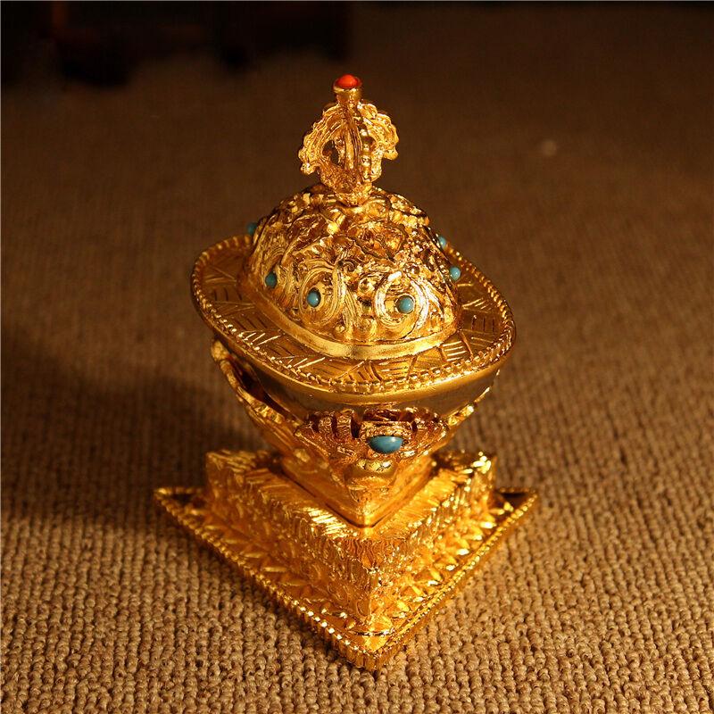 WHOLESALE! TIBETAN BLESSED 12CM GOLD GILT COPPER Gabbra Kapala