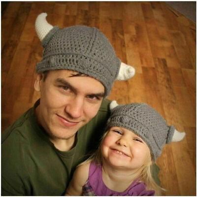 Viking Baby Costume (Baby Kids Viking Hat Crochet Horns Cap Knitted Beanie Costume Weave Headwear)