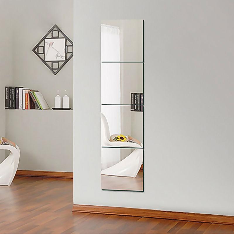 Home Decoration - 4pc Mirror Tile Wall Sticker Square Self Adhesive Room Decor Stick On Art 30CM