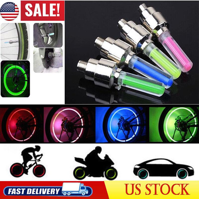 4pcs LED Neon Light Bike Car Motorcycle Wheel Tire Auto Valve Cap Night Flashing