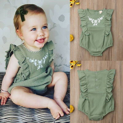 Canis Newborn Toddler Baby Girl Ruffle Solid Romper Sunsuit Jumpsuit Outfits