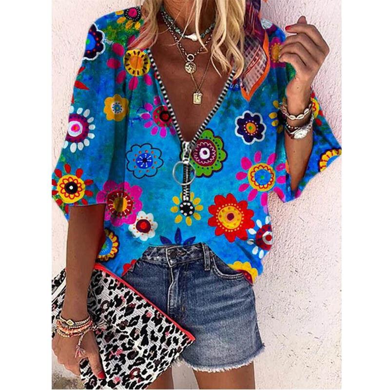 Summer Women Half Sleeve V Neck T Shirt Zipper Tops Casual Loose Blouse Tunic