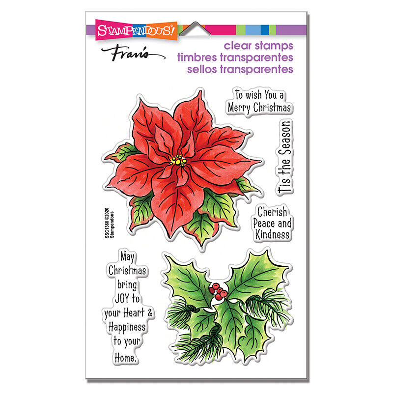 Stampendous POINSETTIA SEASON Perfectly Clear Stamps Christm