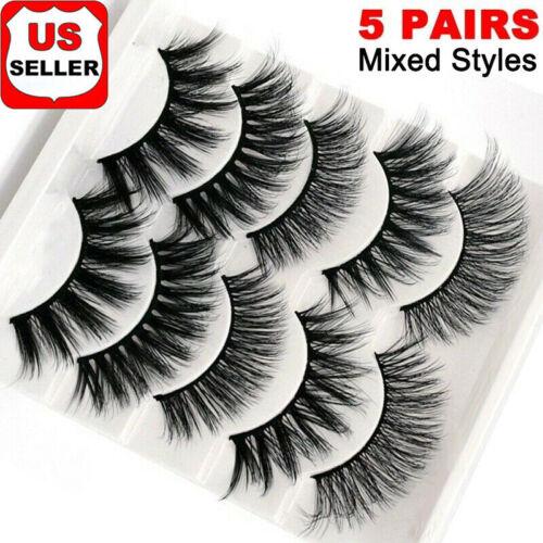 5 Pairs Top 3D 100% Mink Natural False Eyelashes Long Thick