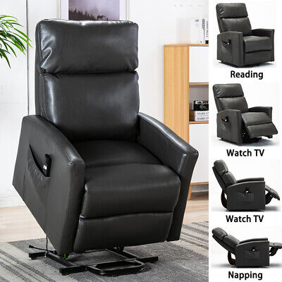 Air Leather Power Lift Recliner Chair Oversized Extra Soft Seat Heavy Duty Frame