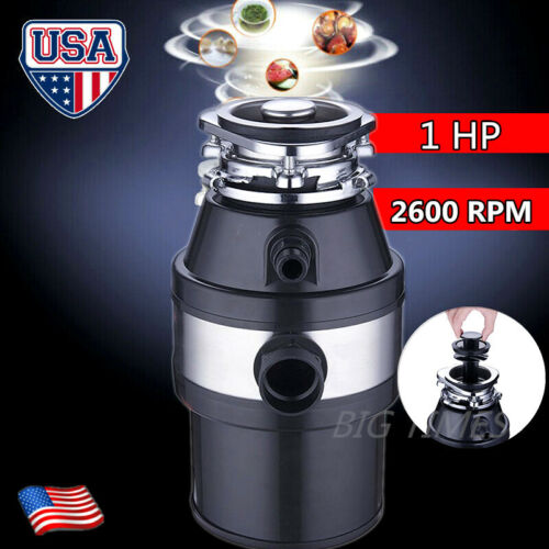 1 HP Continuous Feed Household Plug In Garbage Disposer Kitchen Waste Disposal