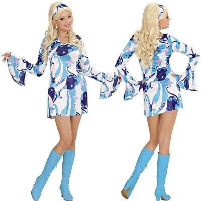 60er 70er Hippie Retro Minikleid Damen Kostüm Disco Mini Kleid Schlagermove blau