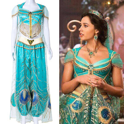 Kids Movie Aladdin Jasmine Princess Cosplay Costume For Women Halloween Party