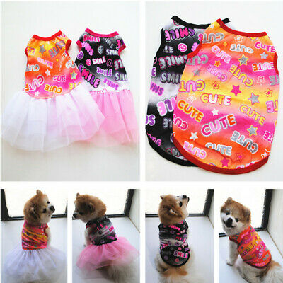 Pet Summer Cute Smile Shirt Skirt Small Puppy Dog Cat Dress Clothes Vest Costume](Cute Small Dog Costumes)