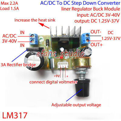LM317 Adjustable Voltage Linear Regulator Step Down Module AC/DC to 5V 12V 24V