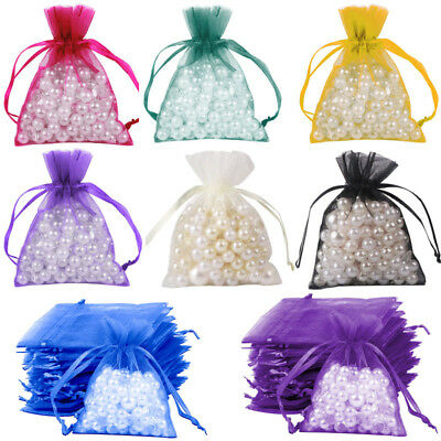 50×Organza Sheer Mesh Bags Wedding Party Favor Gift Candy Bags Jewelry Pouches (Mesh Gift Bags)