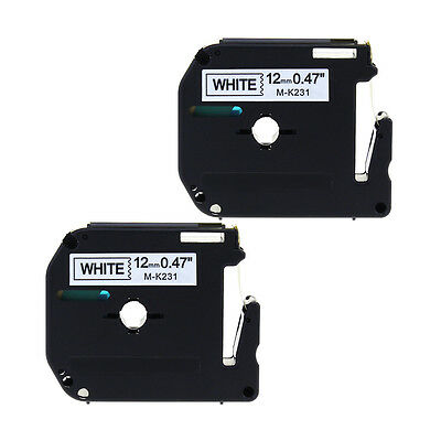2pk Compatible Brother For P-touch Label M-k231 Mk231 Blackwhite 12mm Tape Pt65