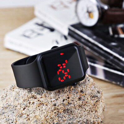 - Fashion Square Mirror Face Silicone Band Digital Watch Red LED Watches Metal fra